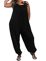 cheap -lamissche ladies overall, casual, solid color, loose fit, sleeveless, spaghetti straps, long trousers - black - xx-large