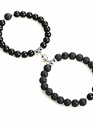cheap -colorful bling 2pcs magnetic couples bracelets set charm beads matching connect bracelets vows of eternal love charms adjustable jewelry for couple women men-black