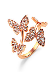 cheap -Ring Classic Rose Gold Gold Silver Zircon Copper Butterfly Statement Personalized Simple 1pc Adjustable / Women's / Couple's / Open Cuff Ring / Adjustable Ring