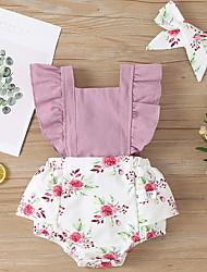 cheap -Baby Girls' Basic Floral Print Sleeveless Romper Purple Yellow Blushing Pink