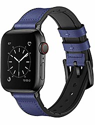cheap -smartwatch band bracelets compatible with apple watch 38mm 40mm, 42mm 44mm, sweatproof hybrid strap made of real leather and rubber, compatible with iwatch series 6/se/5/4/3/2/1