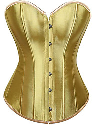 cheap -Corset Women's Plus Size Bustiers Corsets Casual / Daily Overbust Corset Classic Tummy Control Push Up Solid Color Hook & Eye Lace Up Nylon Polyester / Cotton Christmas Halloween Wedding Party / Club
