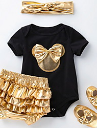 cheap -4 Pieces Baby Girls' Basic Animal Bow Sleeveless Regular T-shirt & Shorts Clothing Set White Black