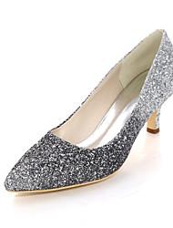 cheap -Women's Wedding Shoes Kitten Heel Pointed Toe Synthetics Color Block Black Fuchsia Blue