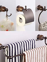 cheap -Stainless Steel and Solid Brass Brown Finish Natural Marble Stone Mixer 4 Pieces Bathroom Hardware Accessories Sets Wall Mounted Double&Single Towel Bar Towel Ring Hook Toilet Paper Holder Soap Liquid