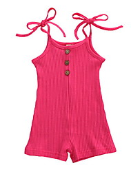 cheap -Baby Girls' Basic Solid Colored Patchwork Sleeveless Romper Purple Red Yellow