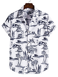 cheap -Men's Shirt Coconut Tree Button-Down Short Sleeve Casual Tops Cotton Casual Fashion Hawaiian Breathable White