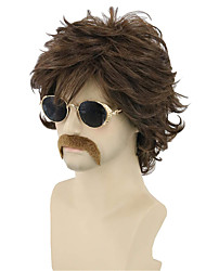cheap -70s 80s costume wig rock wig Synthetic Wig Natural Straight Short Bob Wig Short Dark Brown Blonde Brown / Burgundy sepia Black / White Synthetic Hair Men's Cosplay Party (Only Wig Without Glasses)