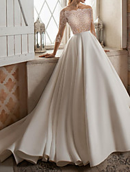 cheap -A-Line Wedding Dresses Bateau Neck Sweep / Brush Train Lace Satin 3/4 Length Sleeve Formal See-Through with Embroidery 2021
