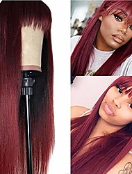 cheap -missyvan burgundy hair color straight hair wigs for women with air bangs heat esistant fiber synthetic cosplay party wigs
