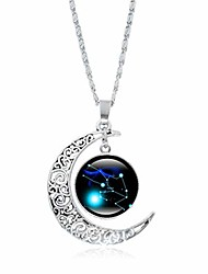 cheap -dainty crescent half moon 12 constellation zodiac sign astrology horoscope charm chain pendant necklace jewelry