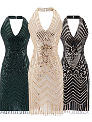 cheap -The Great Gatsby 1920s Vintage The Great Gatsby Vacation Dress Summer Flapper Dress Party Costume Masquerade Prom Dress Women's Tassel Fringe Sequin Costume Black / Green / Beige Vintage Cosplay/ joe