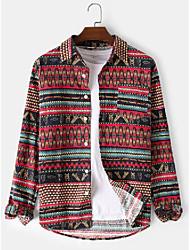 cheap -corduroy mens bohemia ethnic style print chest pocket lapel collar vintage long sleeve shirts
