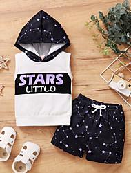 cheap -Baby Boys' Active Galaxy Print Sleeveless Regular Regular Clothing Set Black / Toddler