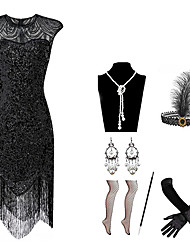 cheap -The Great Gatsby Roaring 20s The Great Gatsby Dress Halloween Costumes Prom Dresses Women's Sequins Costume Golden / Green / Black Vintage Cosplay Homecoming Party & Evening Sleeveless