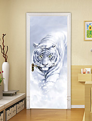 """cheap -2pcs Self-adhesive Creative Foraging Tiger Door Stickers For Living Room Diy Decorative Home Waterproof Wall Stickers 30.3""""x78.7""""(77x200cm), 2 PCS Set"""
