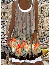 cheap -Women's A Line Dress Knee Length Dress Gray khaki Violet Sleeveless Print Spring Summer Casual / Daily 2021 S M L XL XXL XXXL