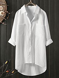 cheap -Women's Plus Size Tops Blouse Shirt Plain Pocket Button 3/4 Length Sleeve Shirt Collar Spring Summer White Blue Black Big Size L XL 2XL 3XL 4XL / Loose