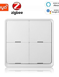 cheap -Smart Wireless Switch Tuya ZigBee Free Sticker 4-way Panel Scene Button Switch Smart Home Work With Google Home Alexa Amazon