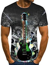 cheap -Men's Unisex Tee T shirt Shirt 3D Print Graphic Prints Guitar Plus Size Print Short Sleeve Casual Tops Basic Fashion Designer Big and Tall Round Neck Gray