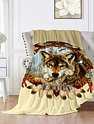 cheap -Flannel Throw Blanket All Season For Couch Chair Sofa Bed Picnic 3D Print Wolf Animals Soft Fluffy Warm Cozy Plush Autumn Winter