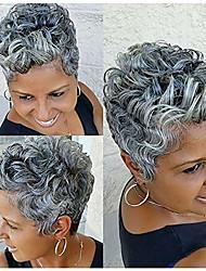 preiswerte -Naiflowers kurze gewellte lockige synthetische Perücke für Frauen graue Perücke, 11 Zoll kurze sexy Perücken lockige synthetische Haar Perücken volle Perücke natürliche Damenmode Party Perücken