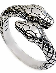 cheap -woent snake ring fashion double snake head rings adjustable retro silver loop personality party statement band for women and girls