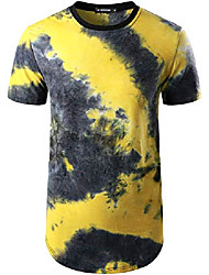 cheap -atryone mens hipster hip hop tie-dyed t shirt pattern print short sleeve round hemline shirt yellow xx-large
