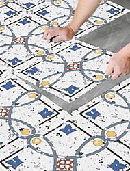 cheap -8pcs Creative Kitchen Bathroom Living Room Floor Stickers Non-slip Waterproof Wear-resistant Retro Blue Terrazzo Floor Stickers