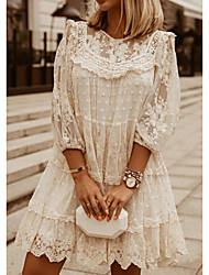 cheap -Women's Shift Dress Short Mini Dress White Beige 3/4-Length Sleeve Solid Color Embroidered Lace Spring Summer Round Neck Casual Lace 2021 S M L XL XXL 3XL