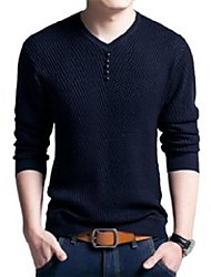cheap -casual men pullovers top mens fashion autumn sim long sleeve v neck solid buttons pullover shirts high quality big size men's