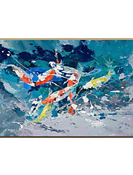 cheap -Oil Painting Handmade Hand Painted Wall Art Blue Abstract Canvas Paintings Home Decoration Decor Stretched Frame Ready to Hang