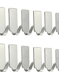 cheap -12pcs Silver Self Adhesive Home Kitchen Wall Door Stainless Steel Holder Hook Hanger for Bathroom Hooks for hanging