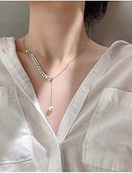 cheap -Women's Pearl Pendant Necklace Classic Flower Sweet Copper Silver 45+5 cm Necklace Jewelry 1pc For Anniversary Gift Birthday Party Festival