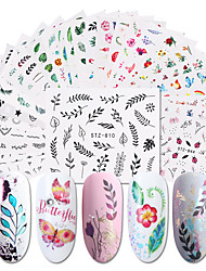 cheap -Nail Watermark Stickers 1 Sheet Watercolor Simple Floral Flower Nail Sticker Gel Wraps Decal Manicure Decal Water Transfer Nail Art