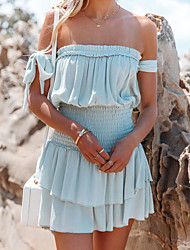 cheap -2021 european and american spring/summer cross-border new products, waist waist fashion ruffled off-shoulder wrapped chest short dress 8525