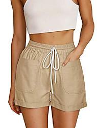 cheap -pinkmarco women casual elastic waist drawstring cotton summer shorts spandex folded hem denim short pants with pockets apricot xx-large