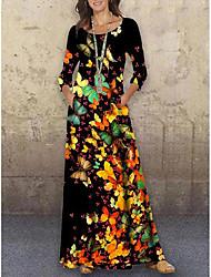 cheap -Women's Shift Dress Maxi long Dress Black 3/4 Length Sleeve Print Animal Print Spring Summer Round Neck Casual Holiday 2021 S M L XL XXL 3XL