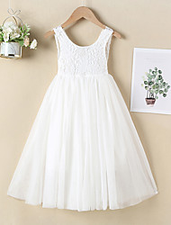 cheap -Kids Little Girls' Dress Lace White Tulle Special Occasion Birthday Party Backless Blushing Pink Maxi Sleeveless Color Block Long Sweet Dresses Children's Day Summer Regular Fit 4-12 Years