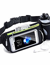 cheap -slub running belt,window swipe touch screen waist pack with water bottle holder,adjustable straps waist bag(black)