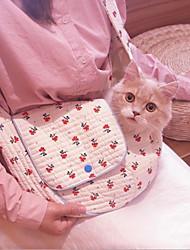 cheap -Dog Cat Shoulder Messenger Bag Portable Flower Fabric White
