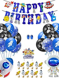 cheap -Outer Space Themed Happy Birthday Decoration Supplies,Happy Birthday Ballon Set, Including Sci-Fi Themed Happy Birthday Banner,20 Balloons,2 Foil Balloons, 2 Ribbon for Kids Birthday Party
