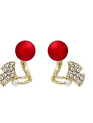 cheap -Women's Stud Earrings 3D Stylish Classic Imitation Pearl Imitation Diamond Earrings Jewelry Red For Birthday Prom Festival 1 Pair