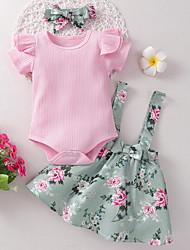 cheap -Baby Girls' Basic Floral Short Sleeve Regular Clothing Set Blushing Pink