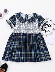 cheap -Baby Girls' Basic Vintage Print Plaid Lace Lace Trims Short Sleeve Dress Blue