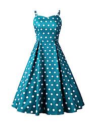 cheap -Audrey Hepburn Polka Dots 1950s Vintage Vacation Dress Dress Rockabilly Prom Dress Women's Costume Black / Red / Blue Vintage Cosplay Homecoming Prom Sleeveless Knee Length