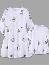 cheap -Mommy and Me Dresses Graphic Embroidered White Matching Outfits