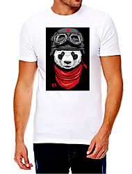 cheap -Men's Unisex Tee T shirt Hot Stamping Graphic Prints Panda Soldier Plus Size Print Short Sleeve Casual Tops Cotton Basic Fashion Designer Big and Tall White