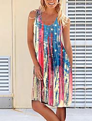 cheap -Women's A Line Dress Knee Length Dress sunflower Left twill Blue Yellow White Black Rose Sleeveless Pattern Spring Summer Casual / Daily 2021 S M L XL 2XL