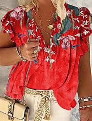 cheap -Women's Plus Size Tops Blouse Shirt Floral Ruffle Short Sleeve Spring Summer Blue Purple Red Big Size XL XXL XXXL 4XL 5XL